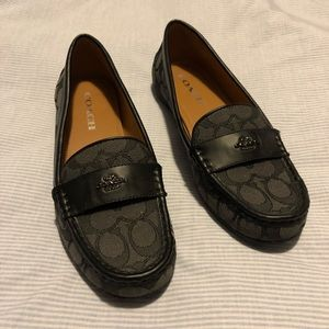 Coach Logo Canvas and Leather Loafers Size 7.5